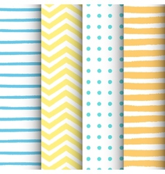 4 hand drawn painted geometric patterns set vector