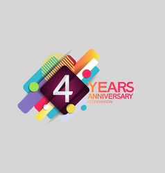 4 years anniversary colorful design with circle vector