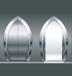 Arched doors of the elevator vector