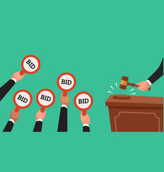 auctioneer hold gavel in hand buyers raising arm vector image
