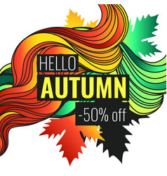 autumn discounts background with leaves vector image