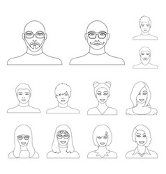 avatar and face outline icons in set collection vector image