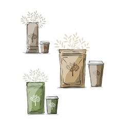 Bag packaging and take away coffee cup vector image