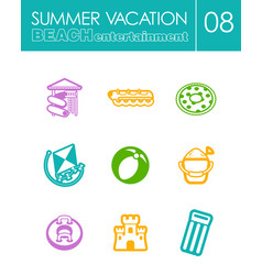 Beach entertainment icon set summer vacation vector