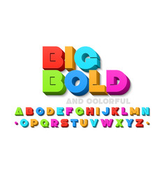 Bold colorful 3d font vector