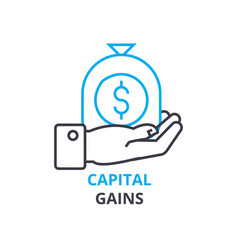Capital gains concept outline icon linear sign vector