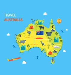 Cartoon color australia discover concept travel vector