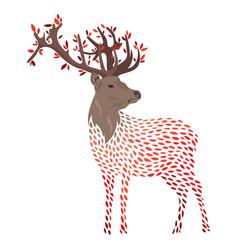 cartoon deer stylized wild deer with horns vector image