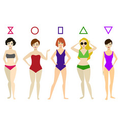 Cartoon woman body shape different types set vector