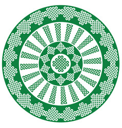 Celtic mandala in white and green vector