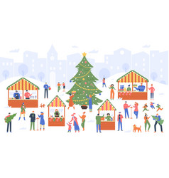 christmas market holiday fair cartoon people vector image