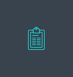 clipboard concept blue line icon simple thin vector image