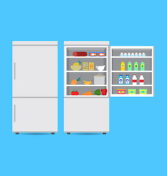 Closed and opened refrigerator with food vector