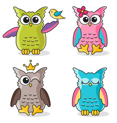 Colorful funny owls icons isolated on white vector