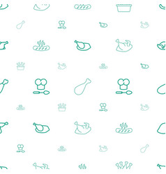 Cooked icons pattern seamless white background vector
