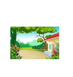 Cool back yard house with trees and flower vector