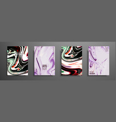 Covers with acrylic liquid textures colorful vector