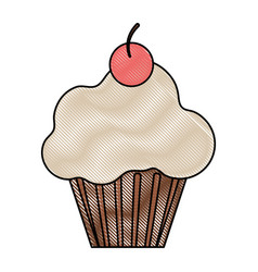 Cup cake glazed cherry vector