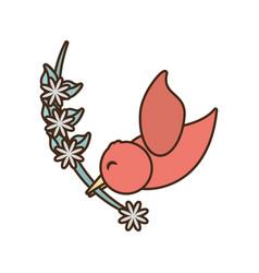 cute bird romantic branch flower vector image