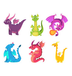 cute dragons fairytale amphibians and reptiles vector image