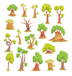 Cute tree characters set funny humanized trees vector