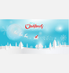 digital paper art merry christmas and happy new vector image