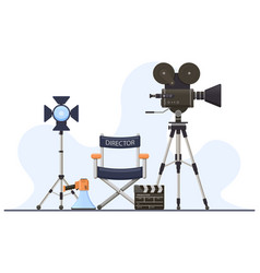director film sets movie camera director chair vector image