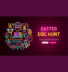 Easter holiday neon banner design vector