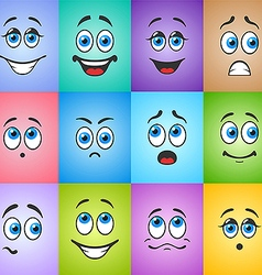 Emotions with eyes on colored background vector