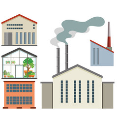 Factory buildings and greenhouse vector