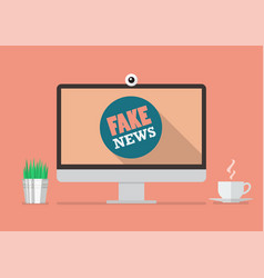 fake news word on computer display vector image