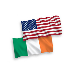 flags of ireland and america on a white background vector image