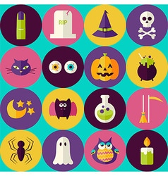 Flat Magic Halloween Witch Seamless Pattern with vector image