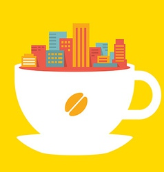 Flat style modern city in cup of coffee vector