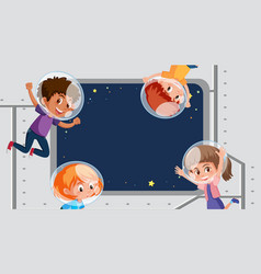 frame template design with kids in space vector image