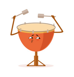 Funny drum percussion musical instrument cartoon vector