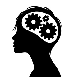 Gears in head silhouette vector