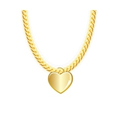 Gold Chain Jewelry Whith Heart vector image