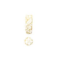 Golden ornamental alphabet exclamation mark font vector