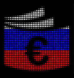 Halftone russian euro checkbook icon vector
