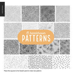 Hand drawn black and white 15 patterns set vector