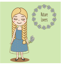 Hand drawn girl with braids beautiful kid in blue vector