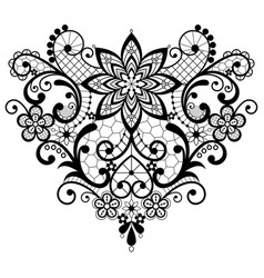 heart lace black and white design vector image