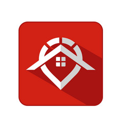 house and pin with flat icon symbol vector image
