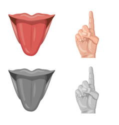 Isolated object human and part sign collection vector