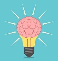 Light bulb with brain vector image vector image