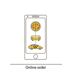 line drawn icon and concept of mobile app for vector image