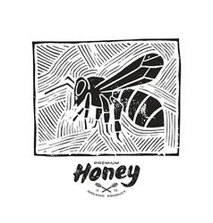 Linocut with a picture of bee and honey label vector