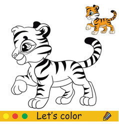 Little tiger in profile coloring with colorful vector
