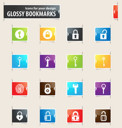 lock and key bookmark icons vector image